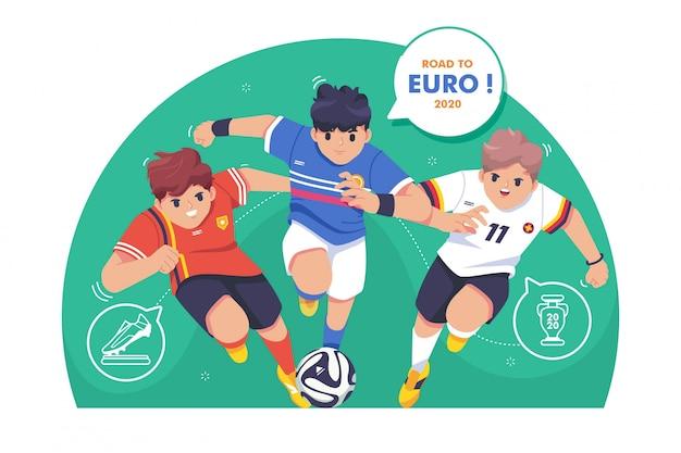Дорога к евро футбол иллюстрации Premium векторы