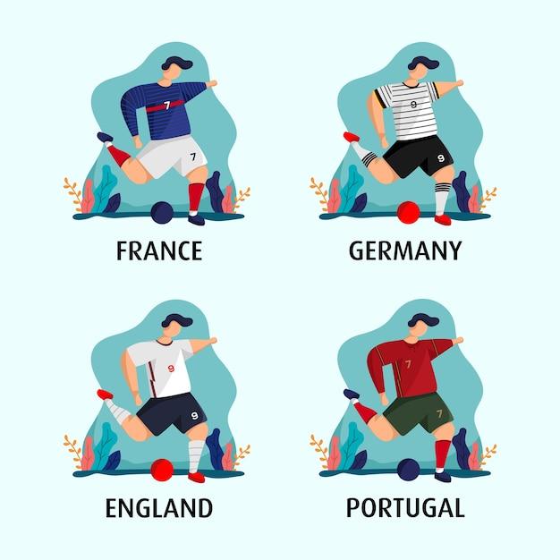 フランス、ドイツ、イギリス、ポルトガルのジャージのコンセプトでユーロへの道 Premiumベクター