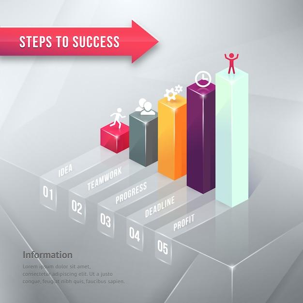 Путь к успеху цветной бизнес элемент инфографики диаграммы изолированные Бесплатные векторы