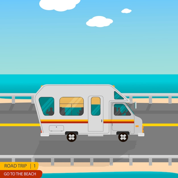 Road trip to the beach all family on the caravan Premium Vector