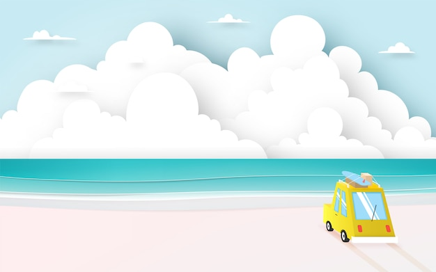 Road trip on the beach with paper art style and pastel color scheme vector illustration Premium Vector