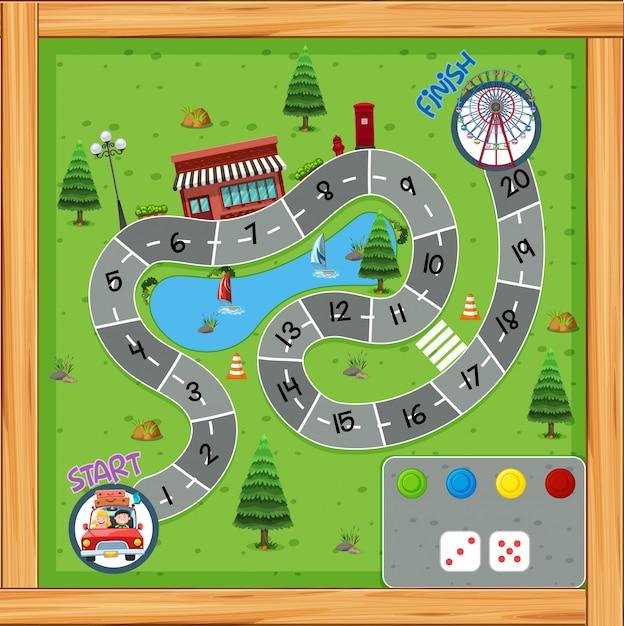 Road trip game board Premium Vector