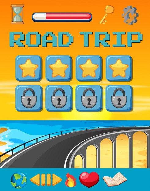 A road trip game template Premium Vector