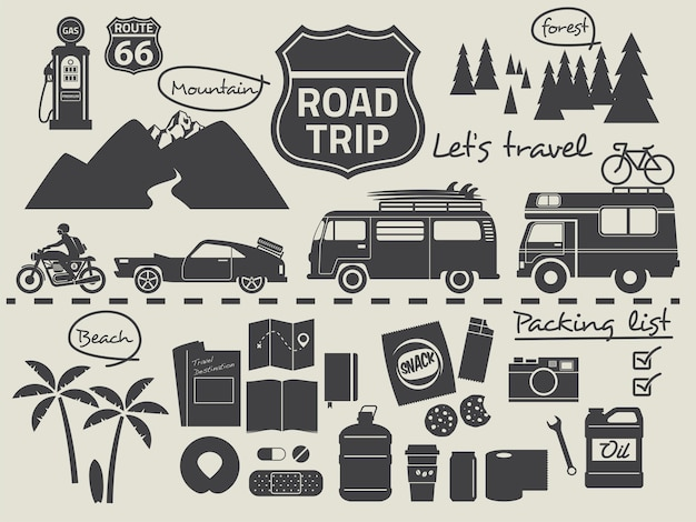 Road trip packing list infographic elements Premium Vector