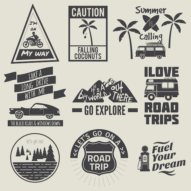 Road trip quote collection black and white Premium Vector