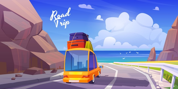 Road trip, summer vacation, holidays travel by car Free Vector