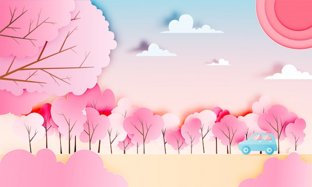 Road trip with car in spring season and natural pastel color scheme background paper cut style vector illustration Premium Vector