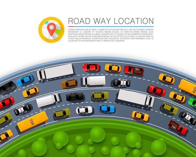 Road way location, car racing info art cover. vector illustration