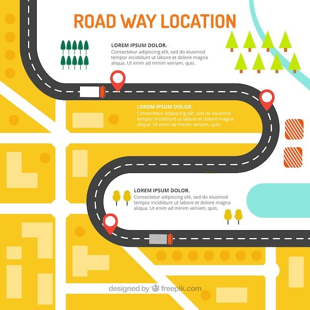 Road way location Free Vector
