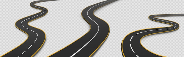 Road, winding highway isolated two lane pathway Free Vector