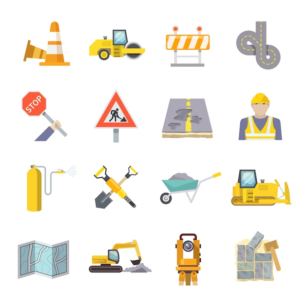 Road worker flat icons set Free Vector