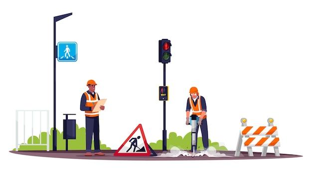 道路労働者のセミrgbカラーイラスト。空気圧ハンマーでコンクリートを掘削する職人。白い背景の上の男性の道路建設労働者と職長の漫画のキャラクター Premiumベクター