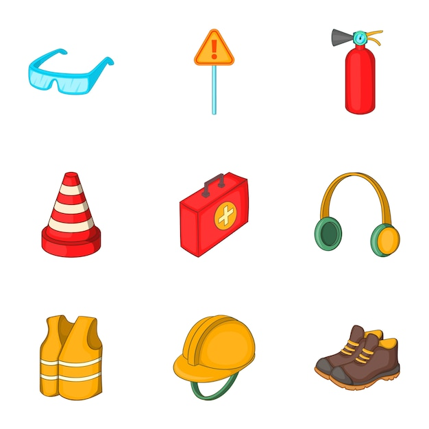 Road working equipment icons set, cartoon style Premium Vector