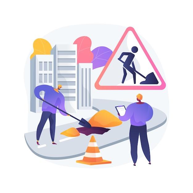 Illustrazione di concetto astratto di lavori stradali Vettore gratuito