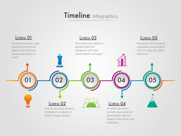 roadmap timeline infographics layout with 5 steps premium vector