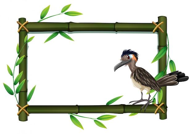 A roadrunner on bamboo frame Free Vector