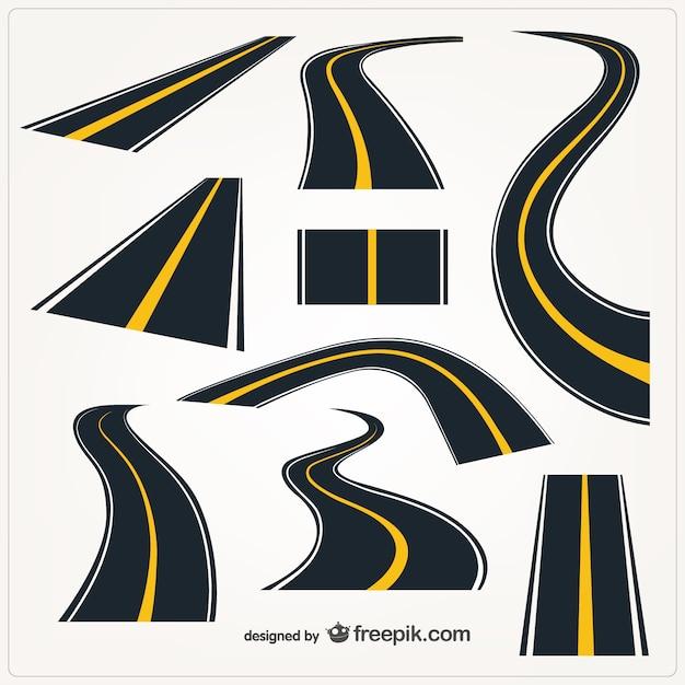 Roads elements Premium Vector