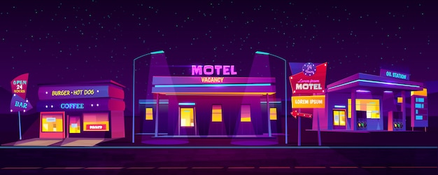 Roadside motel with car parking, oil station coffee and burger cafe glowing at night Free Vector