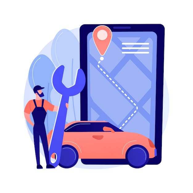 Roadside service abstract concept vector illustration. roadside assistance, car service provider, truck breakdown, mechanical repair, vehicle towing, professional help to driver abstract metaphor. Free Vector