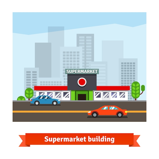 Roadside supermarket and cityscape background Free Vector