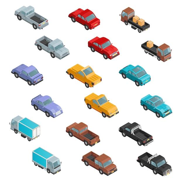 Roadtransport красочные изометрические иконы Бесплатные векторы