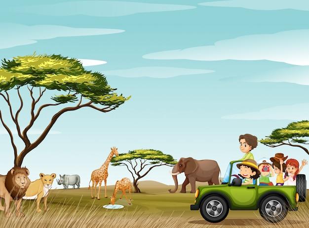 Roadtrip in the field full of animals Premium Vector