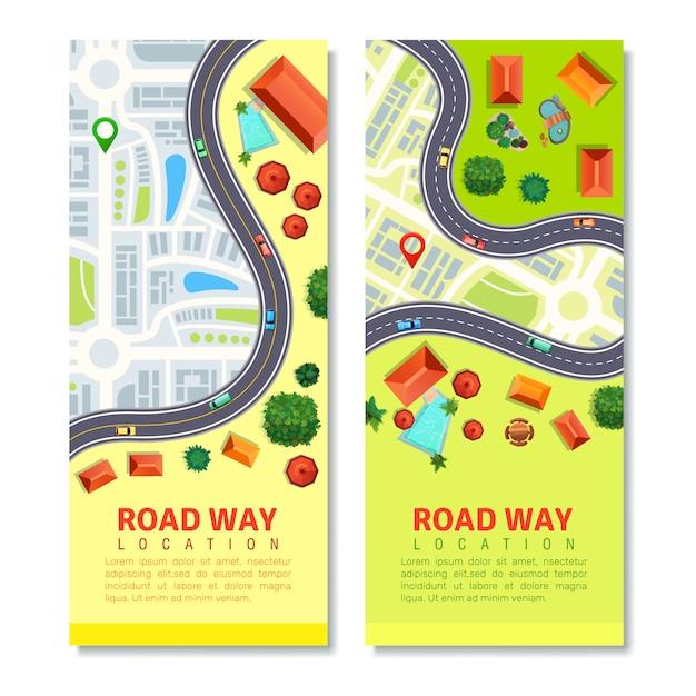 Roadway map vertical banner set Free Vector