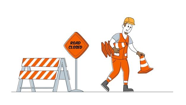 道路工事とアスファルト舗装の概念 Premiumベクター