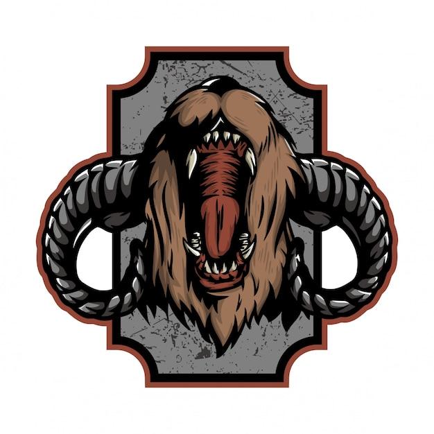 Roaring bear with lamb horn Premium Vector
