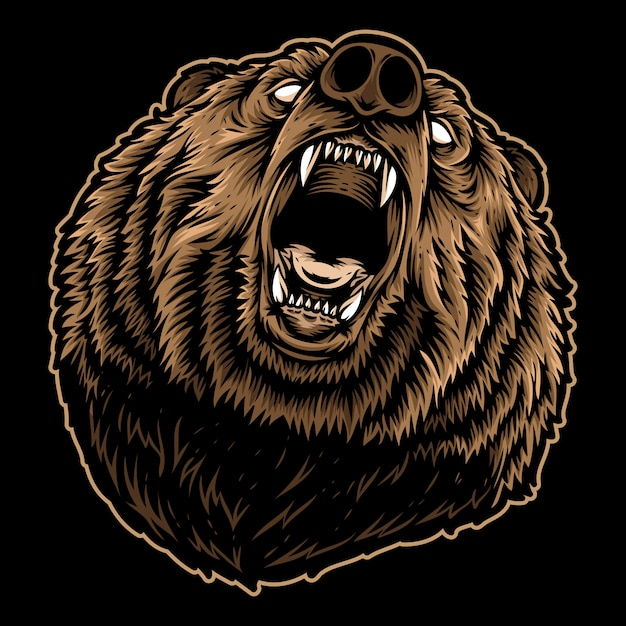 Roaring bear Premium Vector