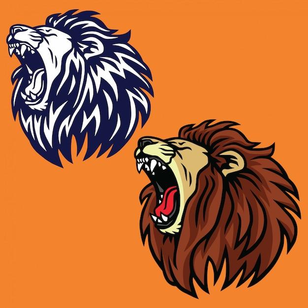 Roaring lion set logo vector design Premium Vector