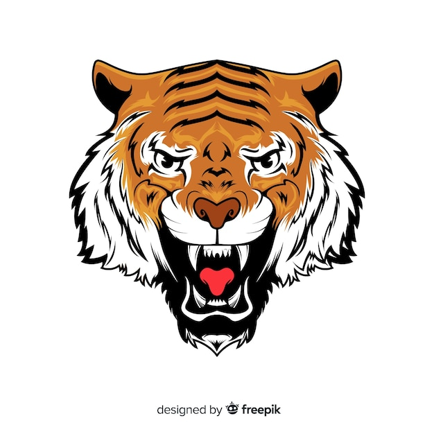 Roaring tiger background Free Vector
