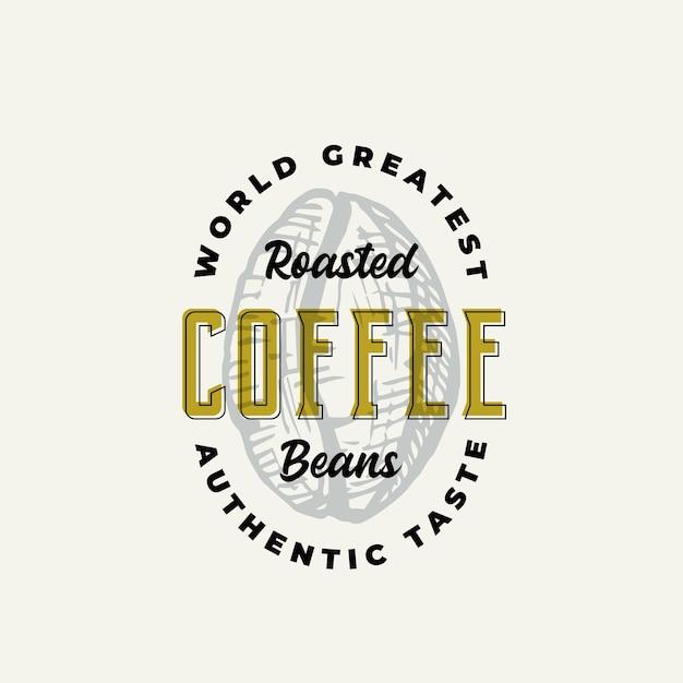 ローストコーヒーの抽象的な記号、記号またはロゴのテンプレート。 Premiumベクター