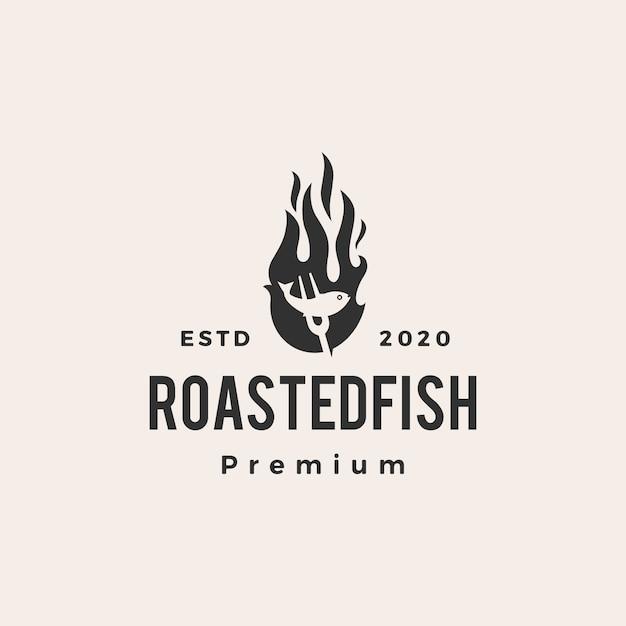 Roasted fish fire flame  vintage logo  icon illustration Premium Vector