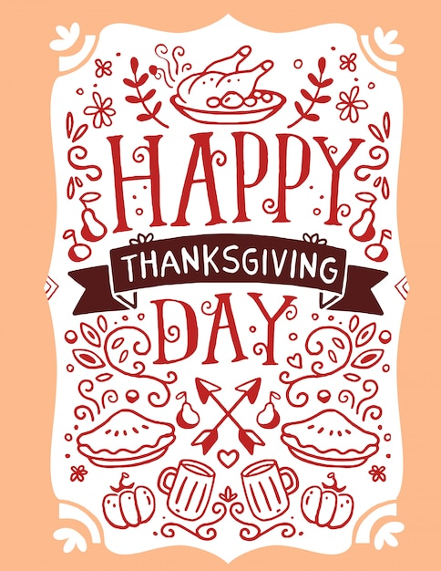 Roasted turkey, vegetables, leaves and text happy thanksgiving day on orange Premium Vector