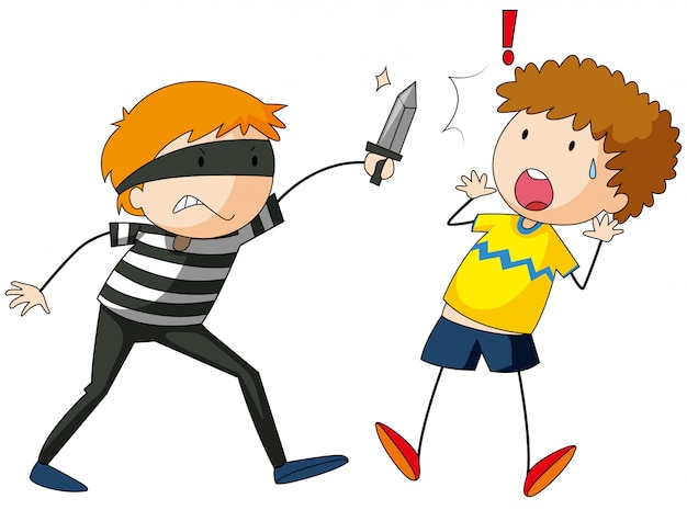 Robber kid playing Free Vector