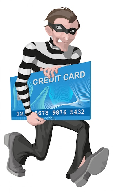 Robber man stole credit card Premium Vector