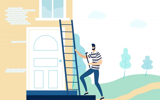Robber in mask holding crowbar, climbing ladder. Premium Vector