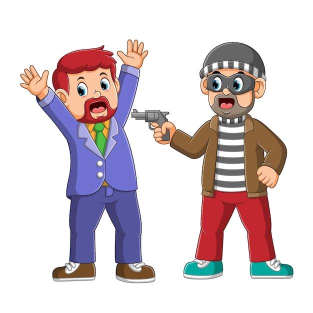 Грабитель прикладывает пистолет к менеджеру, чтобы украсть деньги Premium векторы
