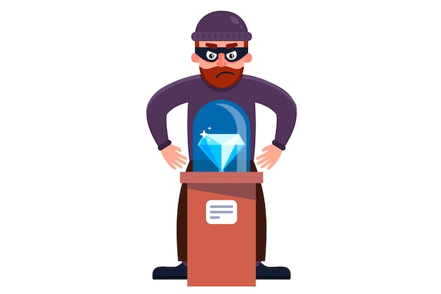 A robber steals a diamond from a museum. flat character  illustration isolated on white background. Premium Vector