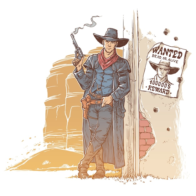Robber with a smoking gun Free Vector