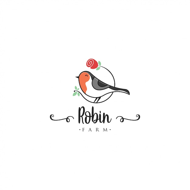 Robin bird logo template. animal logo vector. pet bird logo template Premium Vector