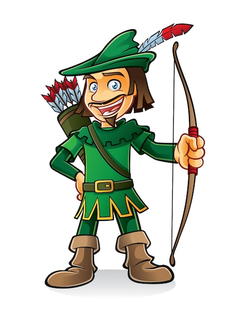 Robin hood stood smiling and holding a bow Premium Vector