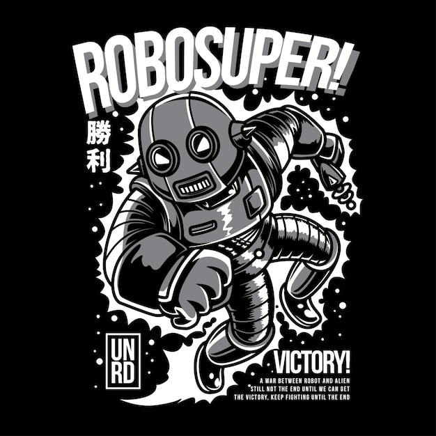 Robosuper black and white illustration Premium Vector