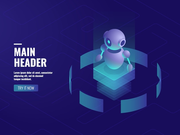 Robot ai artificial intelligence, online consultation and support, computer technology Free Vector