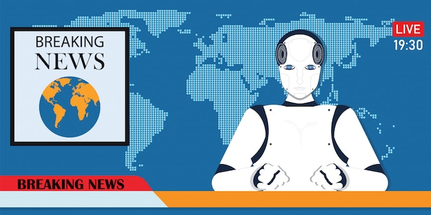 Robot android breaking hot news anchor or cyber newscaster. Premium Vector