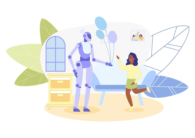 Robot android, working as animator at holidays Premium Vector