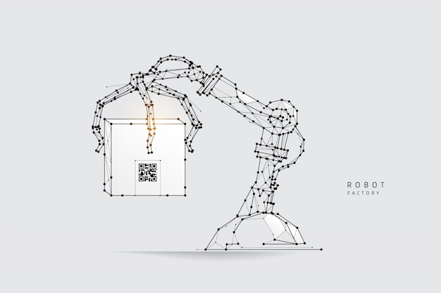 Robot arm in polygonal wireframe style Premium Vector