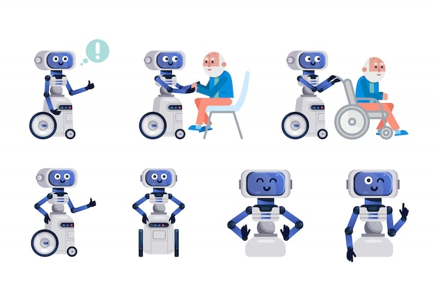 Robot assistant isolated. Premium Vector