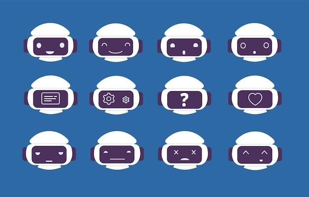 ロボットアバター。ロボット画面のチャットボット感情オンラインシンボル顔ベクトル文字。ロボットの顔、コンピューターマシンチャット、ai支援デジタルイラスト Premiumベクター